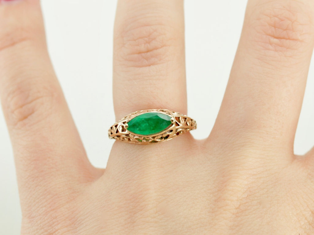 Fine Emerald and Intricate Filigree Cocktail Ring