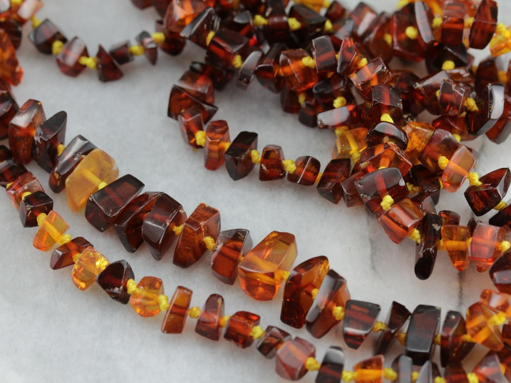 Deep Amber Nugget Beaded Necklace