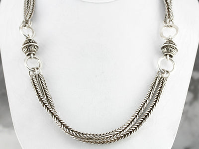 Heavy Sterling Silver Beaded Chain Necklace