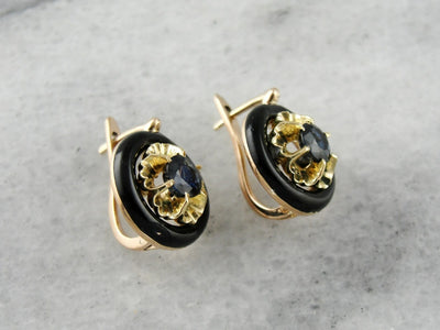 Floral Sapphire Gold Drop Earrings