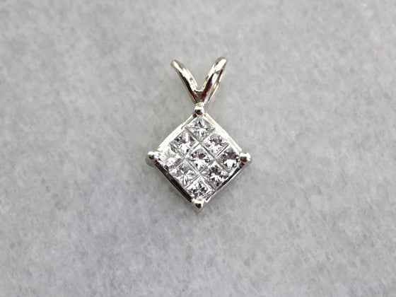 Checkerboard Diamond Pendant, Simple Pendant,  Anniversary Gift