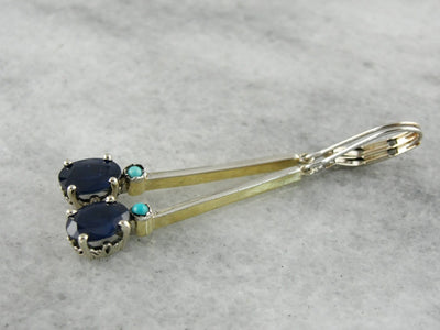 Long Sapphire Drop Earrings with Turquoise Accents