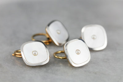 Antique Mother of Pearl Tuxedo Shirt Studs