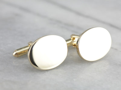Heavy Polished Yellow Gold Cufflinks