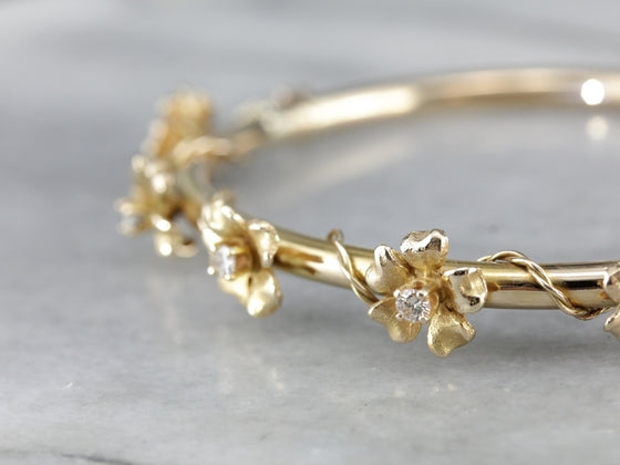 Vintage Diamond and Gold Floral Bangle Bracelet