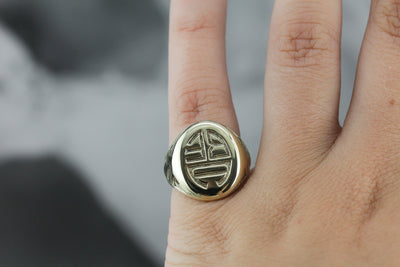 "Antique Green Gold ""BEA"" Signet Ring"