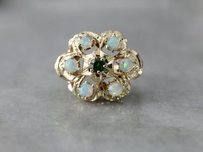Floral Demantoid Garnet Opal Statement Ring