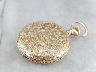 Ornate Antique Hunter's Rose Gold Pocket Watch