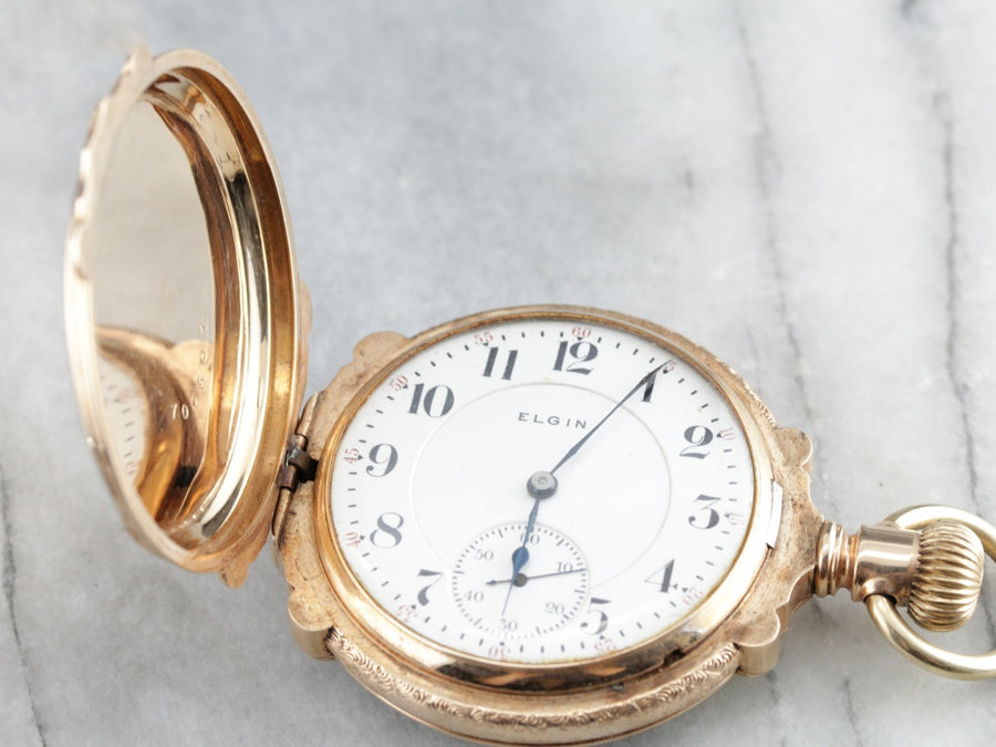 Antique Elgin Pastoral Gold Pocket Watch