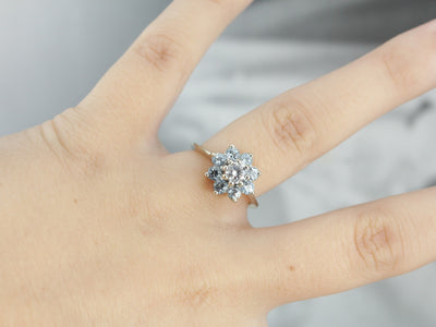 Diamond Aquamarine Floral Halo Cocktail Ring