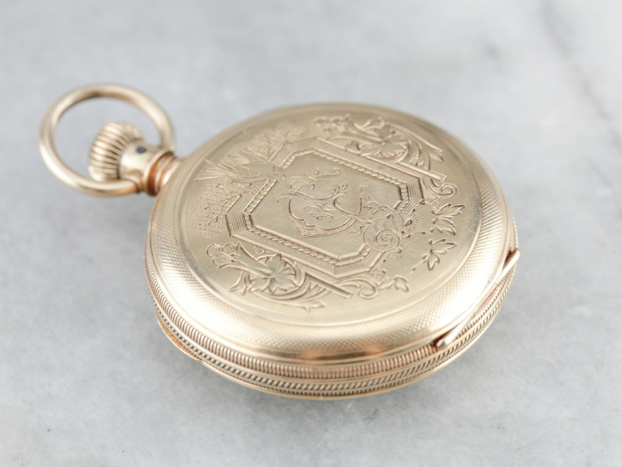 "Antique ""C"" Monogram Gold Pocket Watch"