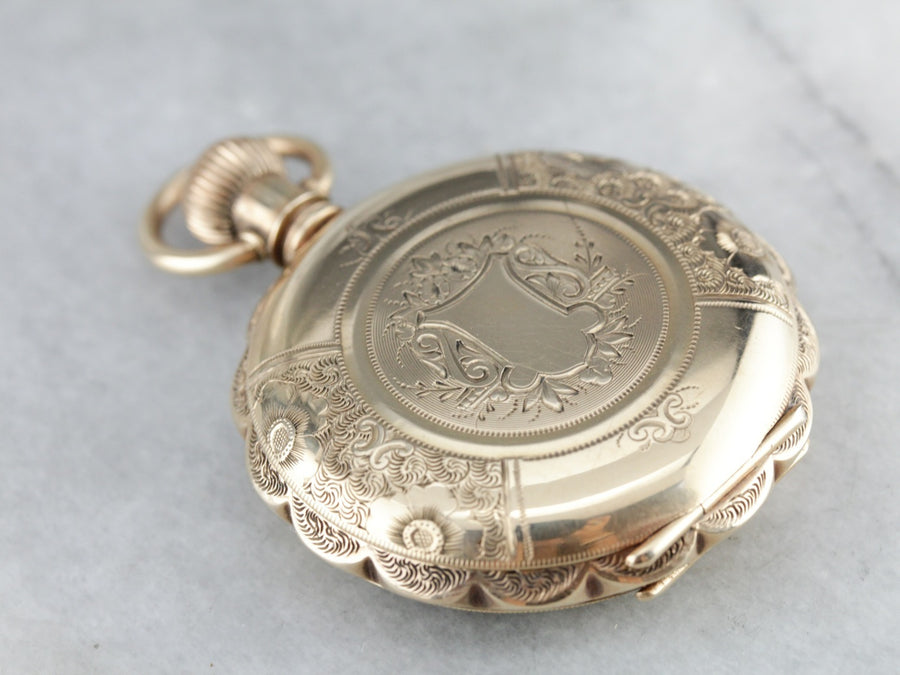 Antique Engraved Stag Gold Pocket Watch