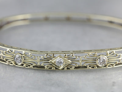 Diamond Art Deco Green Gold Filigree Bracelet
