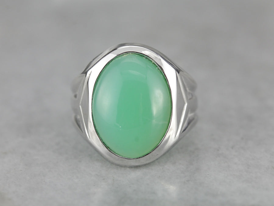 Retro Chrysoprase Men's Statement Ring