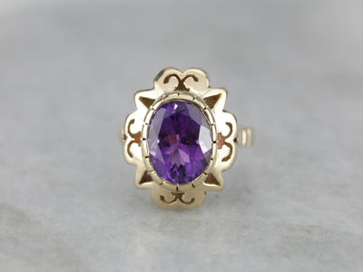 Scallop Framed Amethyst Cocktail Ring