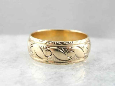 Rose Gold Band with Etched Wave Pattern
