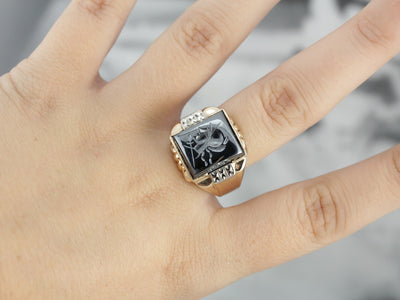 Retro Era Hematite Intaglio Statement Ring