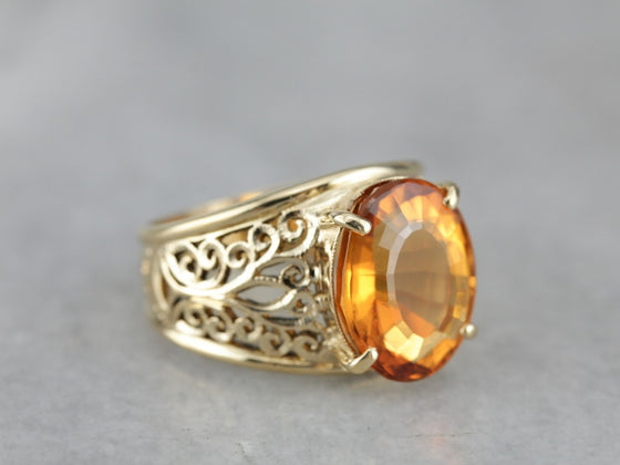 Fine Filigree Citrine Statement Ring
