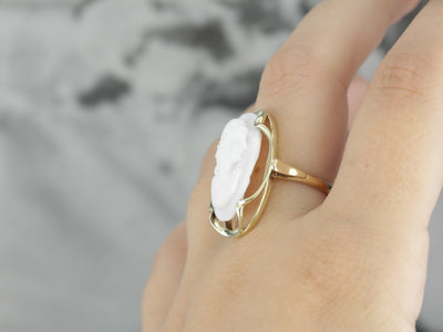 Vintage Pale Pink Cameo Statement Ring