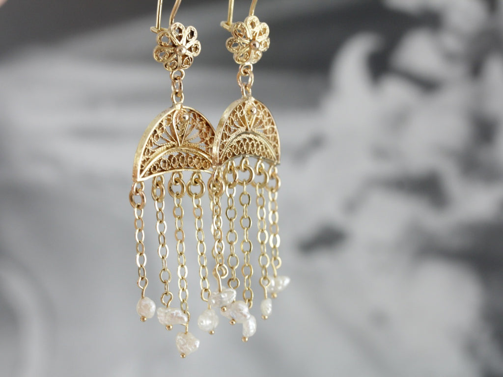 Boho Fresh Water Pearl Chandelier Earrings