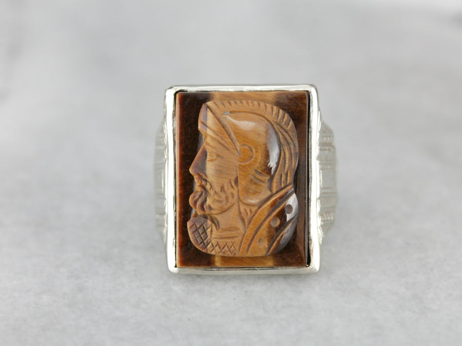 Vintage Tiger's Eye Cameo White Gold Men's Ring