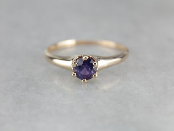 Antique Purple Sapphire Solitaire Engagement Ring