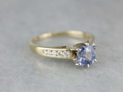 Lilac Blue Sapphire Diamond Engagement Ring