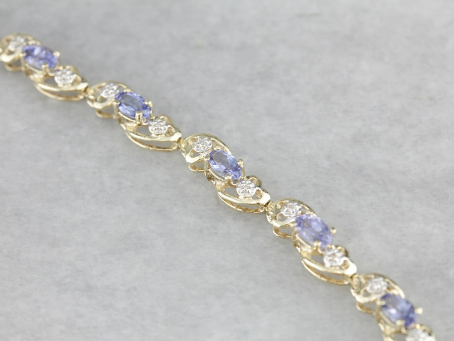 Tanzanite Diamond Gold Tennis Bracelet