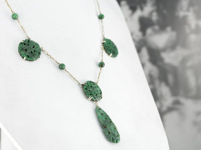 Carved Jade Gold Pendant Necklace