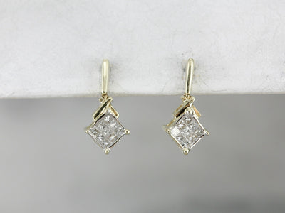 Square Diamond Cluster Drop Earrings