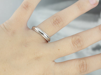 Sleek Milgrain Platinum Wedding Band