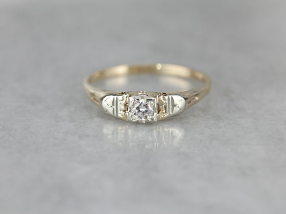 Retro Era Diamond Solitaire Engagement Ring