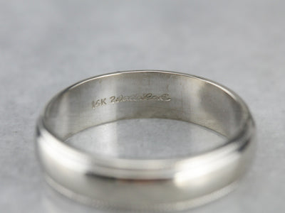 Milgrain White Gold Wedding Band Ring
