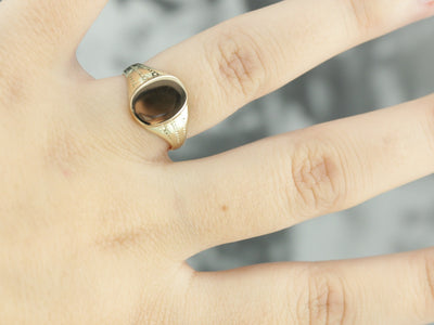 Vintage Dotted Gold Signet Ring