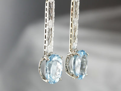 Bridal Blue Topaz Drop Earrings