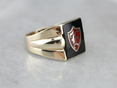 "Retro Era ""F"" Monogram Men's Signet Ring"