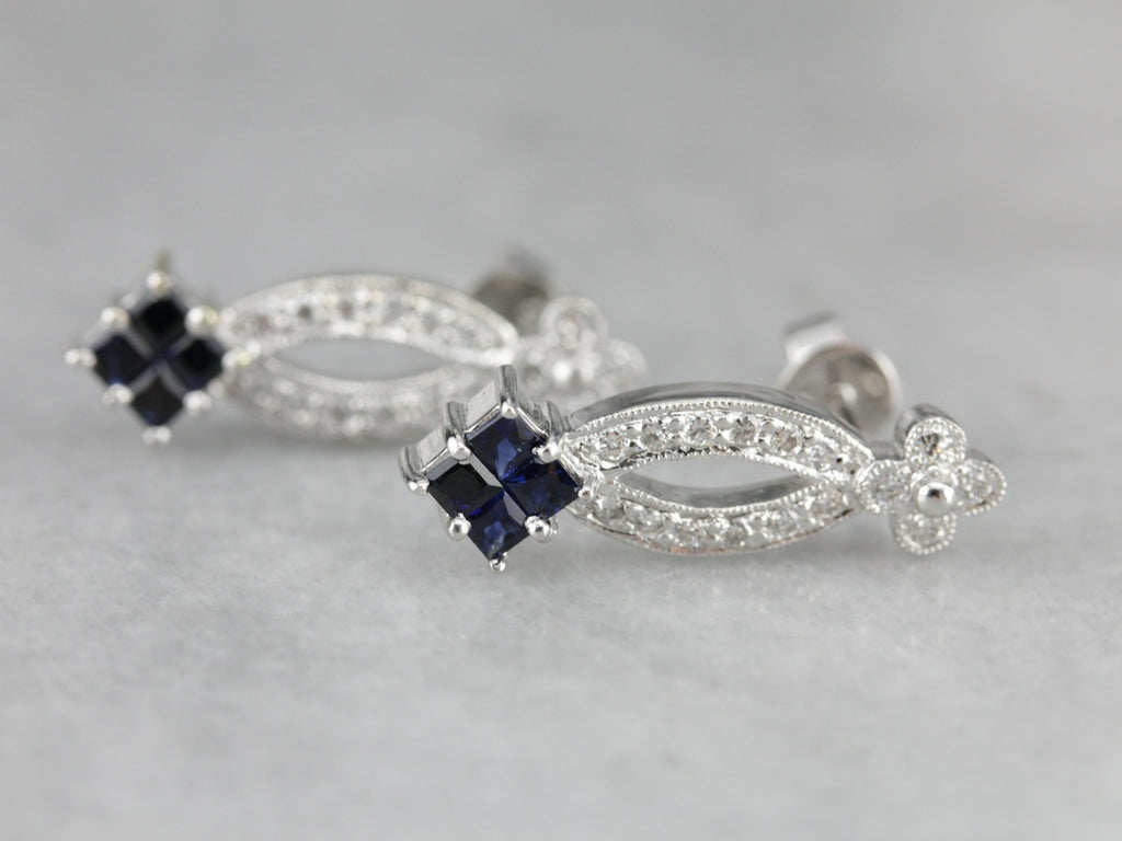 Floral Sapphire Drop Earrings