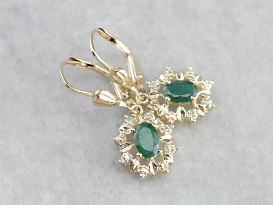 Classic Emerald and Diamond Halo Earrings