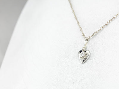 Diamond Heart White Gold Pendant