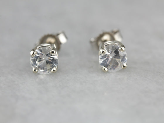 White Sapphire Stud Earrings in White Gold