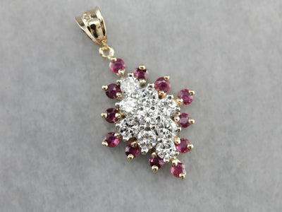 Marquise Diamond Ruby Cluster Pendant