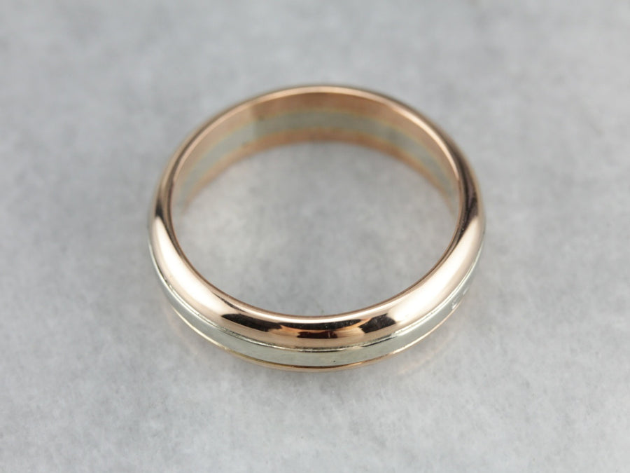 Men's Fine Gold Two Tone Wedding Band