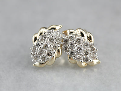 Vintage Diamond Cluster Stud Earrings