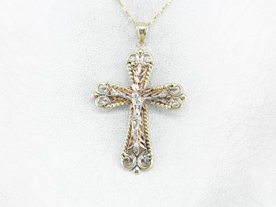 Ornate Tri Color Gold Crucifix Pendant