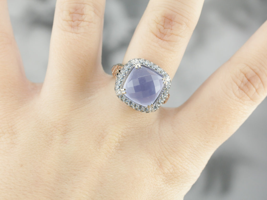 Blue Chalcedony Topaz Cocktail Ring