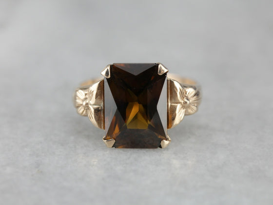 Antique Chestnut Sphene Cocktail Ring
