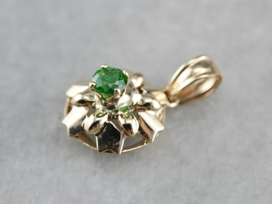 Demantoid Garnet Gold Star Pendant