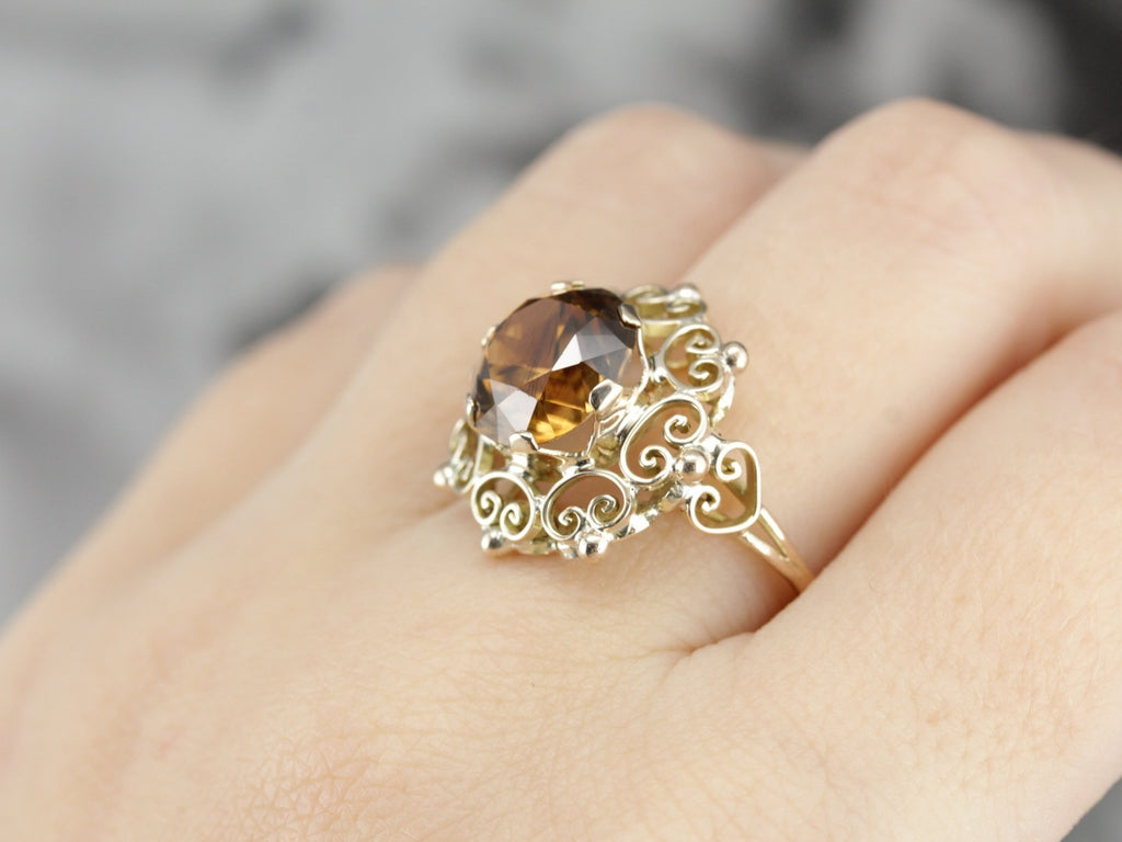 Fancy Filigree Golden Zircon Cocktail Ring