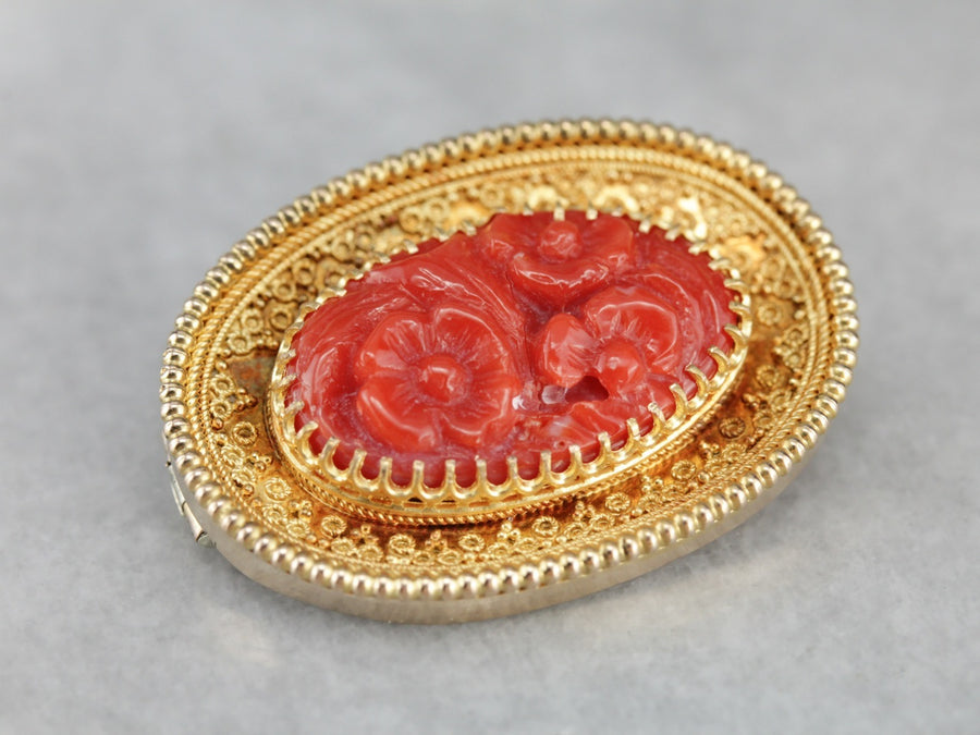 Antique Fine Gold Carved Coral Floral Brooch