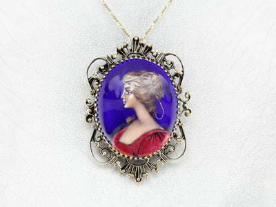 Exquisite Enamel Porcelain Cameo Brooch or Pendant
